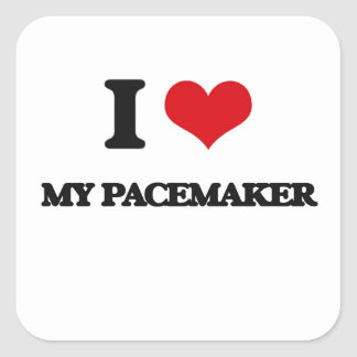 I Love My Pacemaker Square Sticker