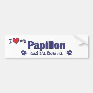 I Love My Papillon (Female Dog) Bumper Sticker