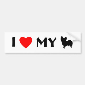 I Love My Papillon (shape) Bumper Sticker