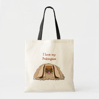 I Love My Pekingese Cartoon Pekingese Dog Tote Bag