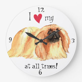I Love my Pekingese Large Clock