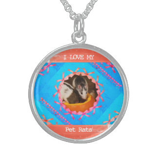 I Love my Pet Rats Photo Sterling Silver Necklace