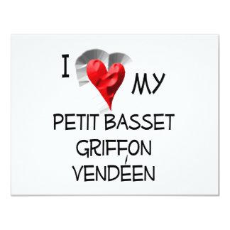 "I Love My Petit Basset Griffon Vendeen 4.25"" X 5.5"" Invitation Card"
