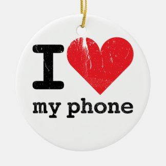 I Love My Phone Round Ceramic Decoration