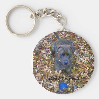 I love my Pit Bull Basic Round Button Key Ring