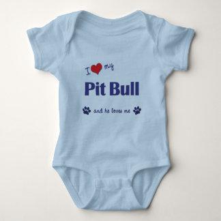 I Love My Pit Bull (Male Dog) Baby Bodysuit