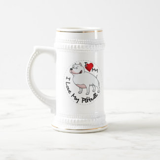 I Love My Pitbull Dog Beer Stein