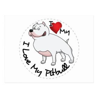 I Love My Pitbull Dog Postcard