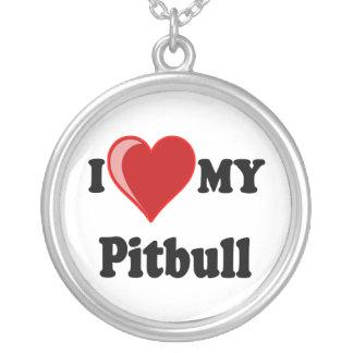 I Love My Pitbull Dog Silver Necklace Round Pendant Necklace