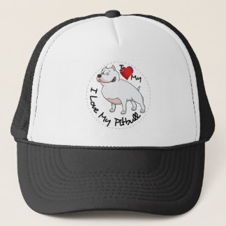 I Love My Pitbull Dog Trucker Hat
