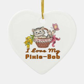 I Love My Pixie-Bob Ceramic Heart Decoration