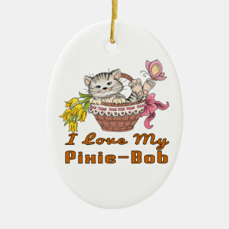 I Love My Pixie-Bob Ceramic Oval Decoration