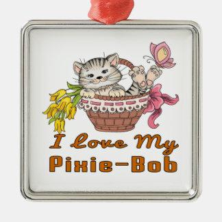 I Love My Pixie-Bob Silver-Colored Square Decoration