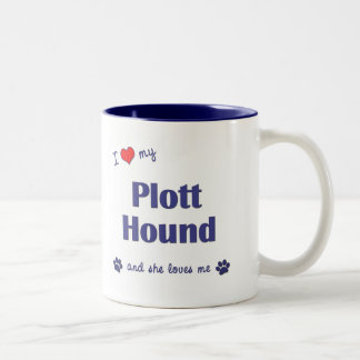 I Love My Plott Hound (Female Dog) Two-Tone Coffee Mug