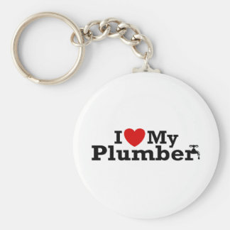 I Love My Plumber Basic Round Button Key Ring