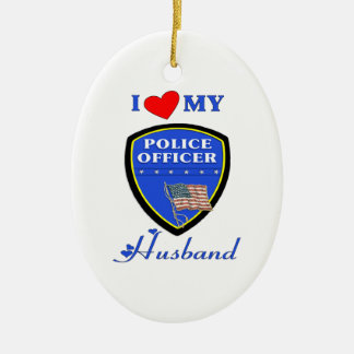 I Love My Police Husband Ceramic Ornament