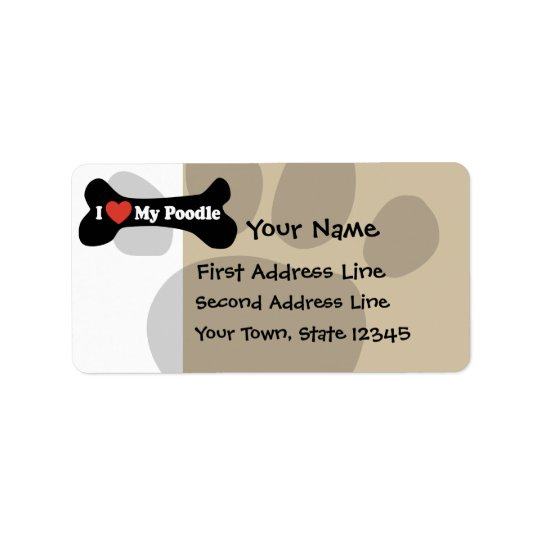 I Love My Poodle - Dog Bone Address Label
