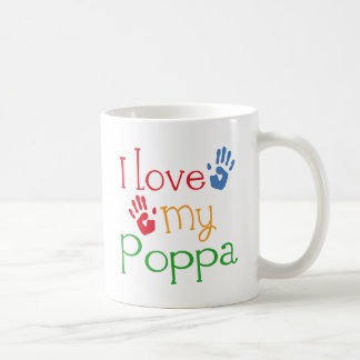 I Love My Poppa (Handprints) Basic White Mug