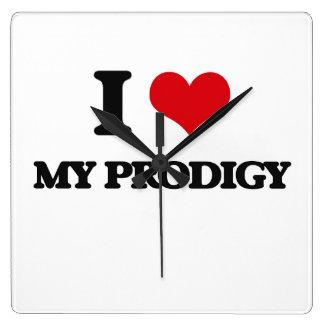 I Love My Prodigy Square Wallclocks