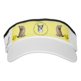 I Love My Puffin Dog with Yellow Roses Visor