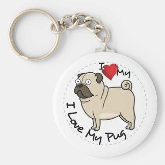 I Love My Pug Dog Key Ring