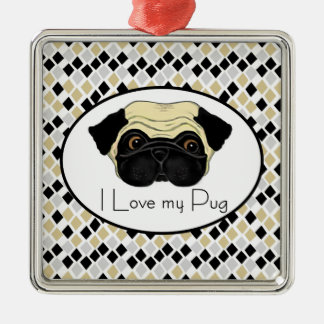 I Love my Pug Metal Ornament