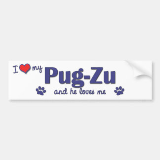 I Love My Pug-Zu (Male Dog) Bumper Sticker