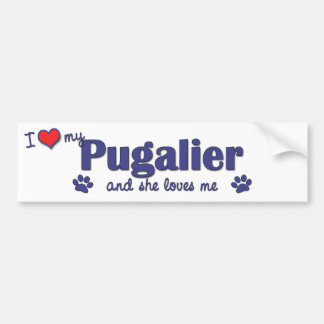 I Love My Pugalier (Female Dog) Bumper Sticker