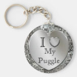 I Love My Puggle Heart Keychain