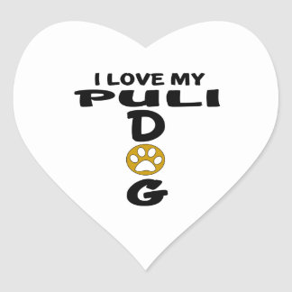 I Love My Puli Dog Designs Heart Sticker