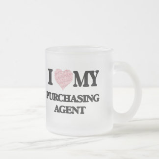 I love my Purchasing Agent (Heart Made from Words) Frosted Glass Mug