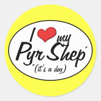 I Love My Pyr Shep (It's a Dog) Round Sticker