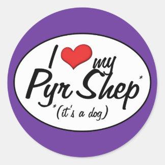 I Love My Pyr Shep (It's a Dog) Stickers