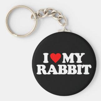 I LOVE MY RABBIT BASIC ROUND BUTTON KEY RING