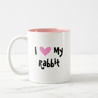 I Love My Rabbit (floppy ear smooth hair) Two-Tone Coffee Mug