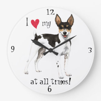 I Love my Rat Terrier Large Clock
