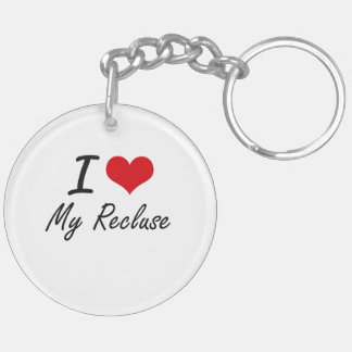 I Love My Recluse Double-Sided Round Acrylic Key Ring