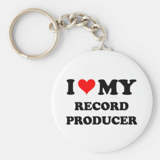 I Love My Record Producer Basic Round Button Key Ring