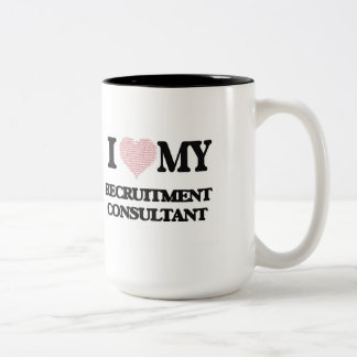I love my Recruitment Consultant (Heart Made from Two-Tone Mug