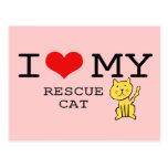 I Love My Rescue Cat Postcard