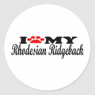 I Love My Rhodesian Ridgeback Round Sticker