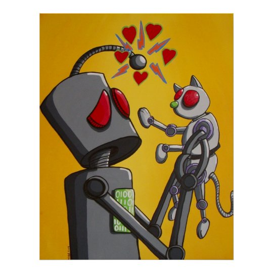 I love my robot kitty poster