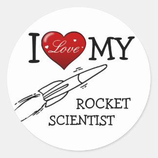I Love My Rocket Scientist Classic Round Sticker