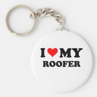 I Love My Roofer Basic Round Button Key Ring