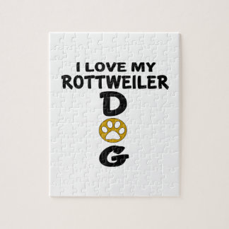 I Love My Rottweiler Dog Designs Jigsaw Puzzle