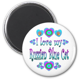 I Love My Russian Blue Cat 6 Cm Round Magnet