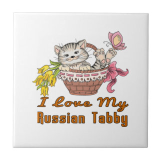 I Love My Russian Tabby Small Square Tile