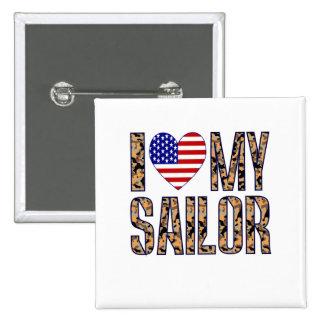 I Love My Sailor 15 Cm Square Badge