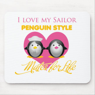 I Love My Sailor Penguin Style Mouse Pad