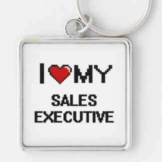 I love my Sales Executive Silver-Colored Square Keychain